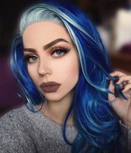 Fantasy Jewelry Blue with Platinum Highlights Long Layered Wavy Synthetic Lace Front Wig