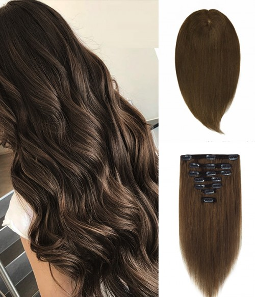 "6""×6"" Upgrade Virgin Remy Human Hair Toppe 16"" 7 Pieces Straight Clip In Remy Human Hair Extensions"