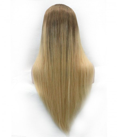 "Kaley Cuoco 20"" Silk Straight Indian Remy Human Hair Ombre Color Full Lace Wig"