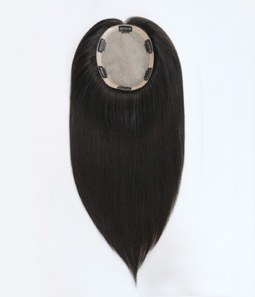 "6""*7"" Bella Virgin Remy Human Hair Silk Top Topper + Catherine 2-in-1 Halo Superior Remy Human Hair Extension"