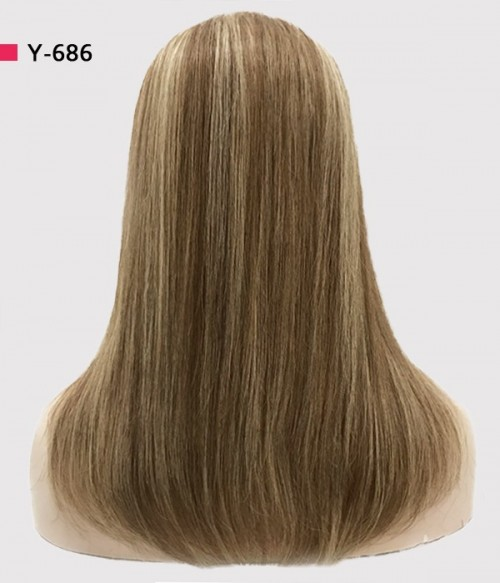 Y-686 Caramel | Light Brown highlighted with Platinum Blonde