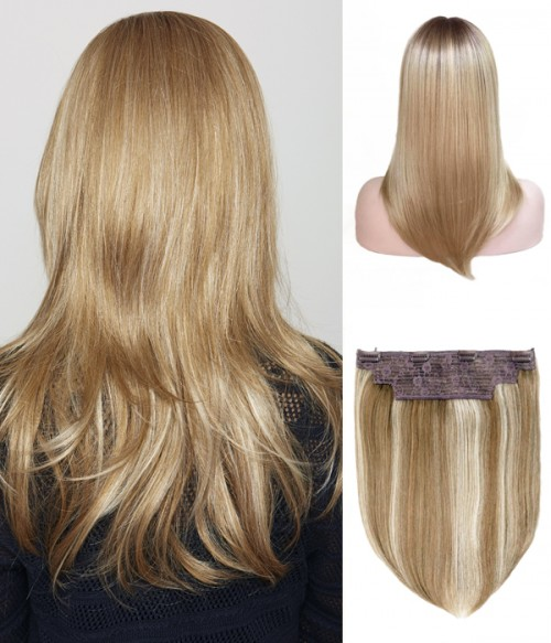 "8.5""*9""- 16""Hope Synthetic Mono Topper+ 14"" Rachael 2-in-1 Halo Synthetic Hair Extensions"