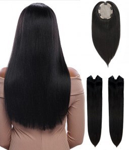 "6""*7"" Bella Virgin Remy Human Hair Silk Top Topper + Beatrice 16"" Single Piece Clip-in Superior Remy Human Hair Extension * 2"