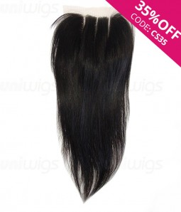 """16"""" Natural Straight Brazilian Remy Human Hair Three Part Lace Frontal (5""""x5"""")"""