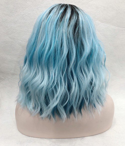 Starry Sky Pastel Blue Shoulder Length Beach Wave Bob Synthetic Lace Front Wig
