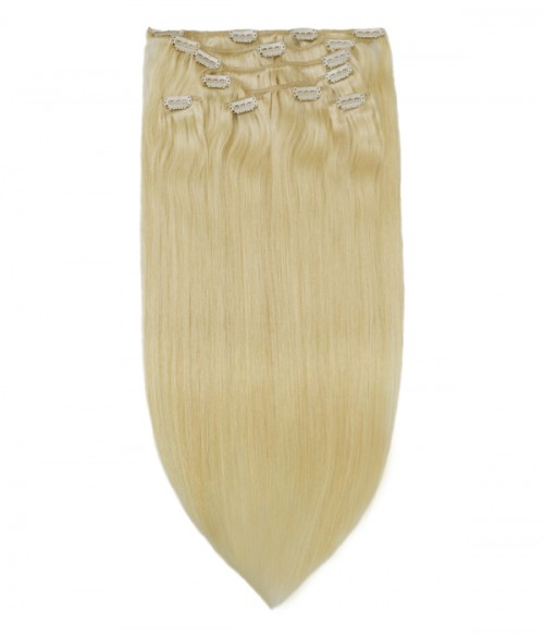 White Blonde Virgin Remy Human Hair Clip In Extension