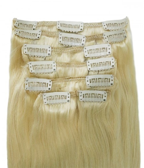 """22"""" White Blonde 7 Pieces Straight Clip In Indian Remy Human Hair Extension E722001STW-G-613"""