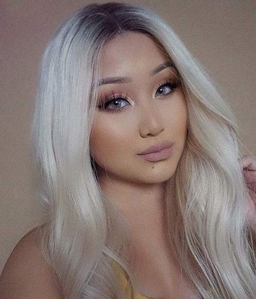 Rihanna Wave Remy Human Hair Ombre Color Lace Wig CL0444  -- 614- Ash blonde color