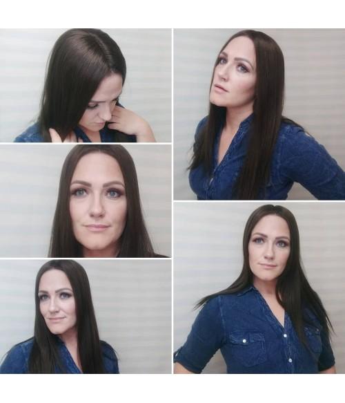 """5""""*6"""" Emily Virgin Remy Human Hair Mono Topper"""