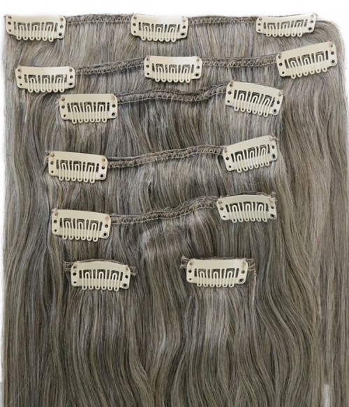 Gray 7 Pieces Straight Clip In  Remy Human Hair Extension E714001STW-G-1B60