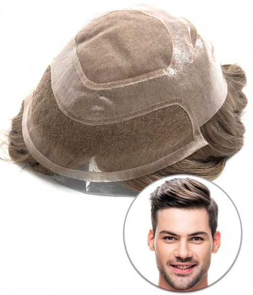 Versatile --- Fine Mono with Lace Hair Replacement System for Men
