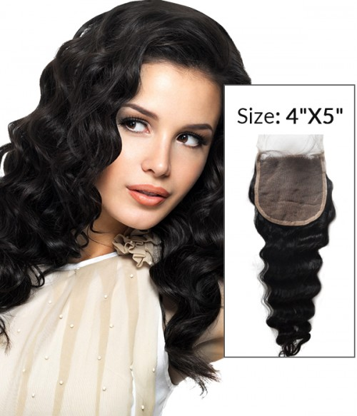 "4""x5"" Deep Wave Remy Human Hair Top Lace Closure"