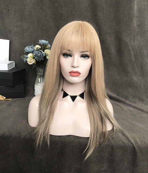 "5""x2.75"" Amelia Remy Human Hair Topper with bangs"