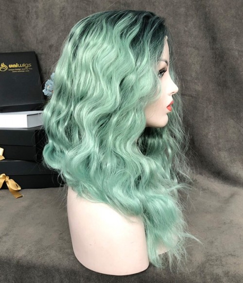 Mint to Be   Mint Green with Sea Green Blended and Dark Teal Rooted Synthetic Lace Front Wig (Heat Friendly)