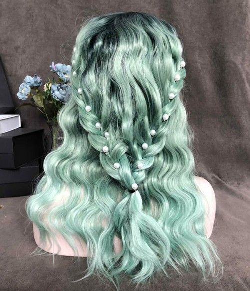 Mint to Be | Mint Green with Sea Green Blended and Dark Teal Rooted Synthetic Lace Front Wig (Heat Friendly)