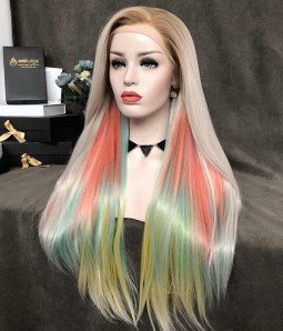 Prism | Pastel Rainbow Color With Blonde Roots Synthetic Lace Front Wig (Heat Friendly)
