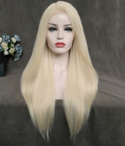 Straight Remy Human Hair Lace Wig - 613 Platinum Blonde