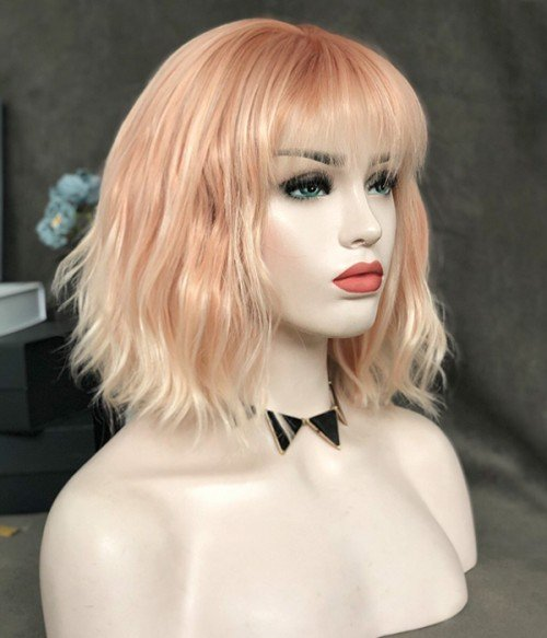 Peach Bellini / Light Peach and Strawberry Blonde and Platinum Blonde Highlighted Synthetic Lace Fxront Wig (Heat Friendly)