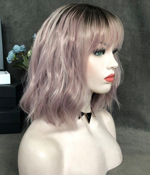Storm Berry with Bangs / Dusty Rose Pink with White Highlighted and Brown Roots Synthetic Lace Front Wig (Heat Friendly)