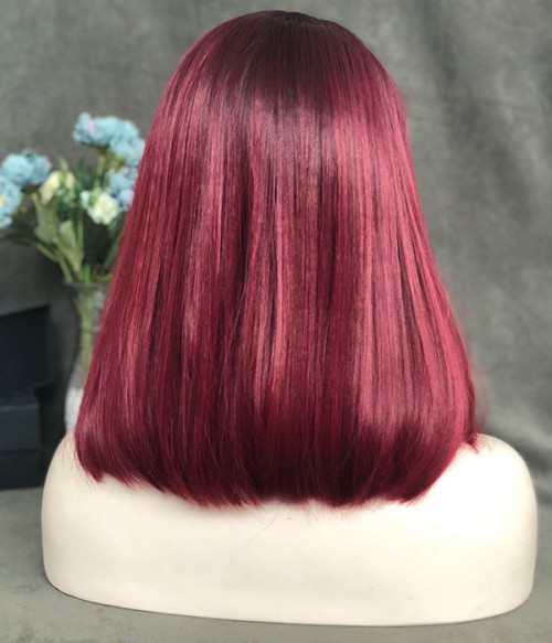 Cherry Cola / Cherry Red blended with Magenta Pink and Black Hints with Dark Rooted Synthetic Lace Front Wig (Heat Friendly)