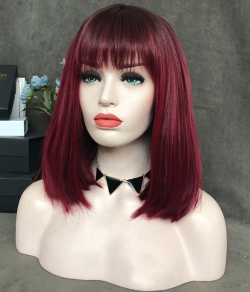 Cherry Cola with Bangs/Cherry Red with Magenta Pink and Black Hints with Dark Rooted Synthetic Lace Front Wig (Heat Friendly)