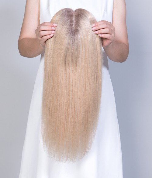 24-613R Summer Shandy with ashy rooted | Light Blonde blended with Platinumum Blonde and ahsy roots