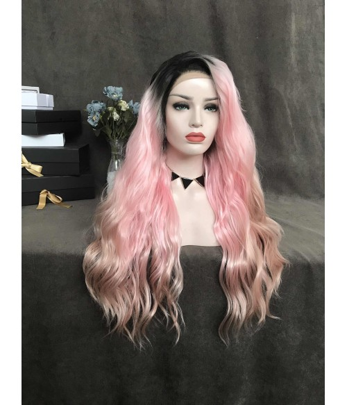 Sakura / Bubblegum Pink Synthetic Lace Front Wig with Black Roots