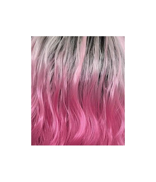 Pretty In Punk / Baby Pink Ombre with Dark Brown Roots Synthetic Lace Front Wig
