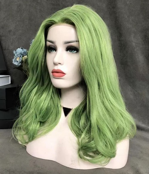 Poison Ivy Bright Lime Green Bouncy Straight Long Synthetic Lace Front Wig