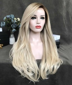Blonde Queen/Creamy Blonde with Beige Blonde Highlights Synthetic Lace Front Wig