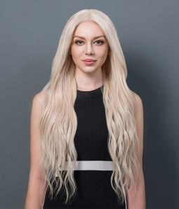 Rihanna Wave Remy Human Hair Ombre Color Lace Wig CL0444  -- 614- Ash blonde color