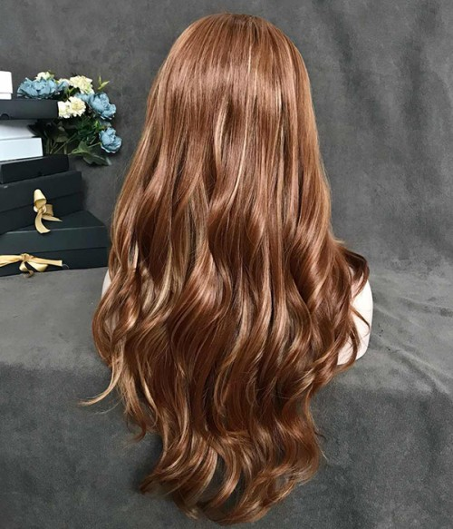 Ginger Spice/Caramel Bourbon with Pale Yellow Highlighted Synthetic Lace Front Wig
