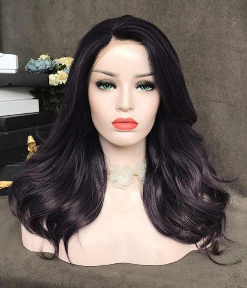 Belladonna/Violet with Light Gray Tips Synthetic Lace Front Wig