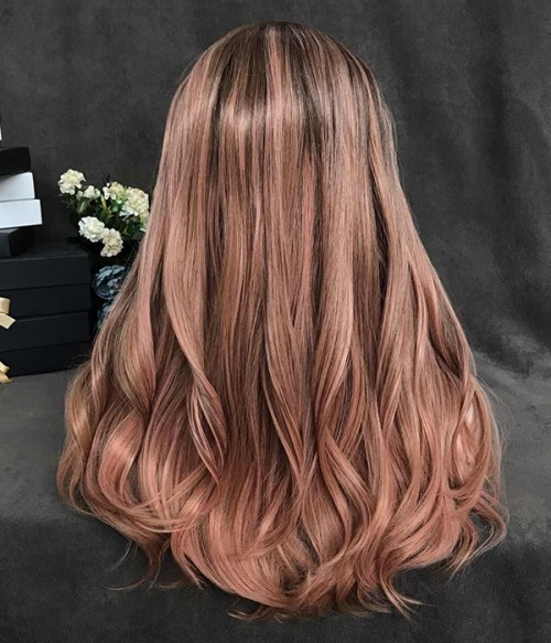 Gingerbread/Peach Rose with Caramel Highlights and Dark Roots Synthetic Lace Front Wig