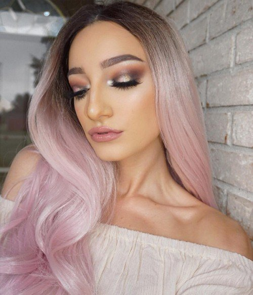Dusty Rose Pale Pink Long Wavy Synthetic Lace Front Wig