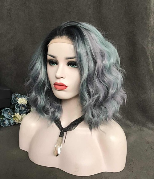 Moody Ash Gray Highlight Shoulder Length Beach Wavy Synthetic Lace Front Wig