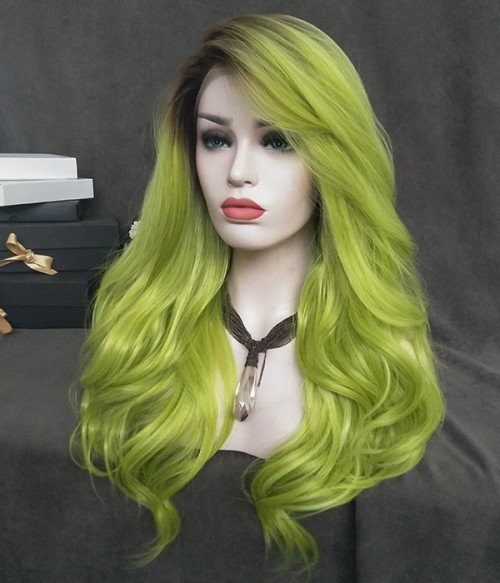 Peridot Lime Green Long Wavy Synthetic Lace Front Wig