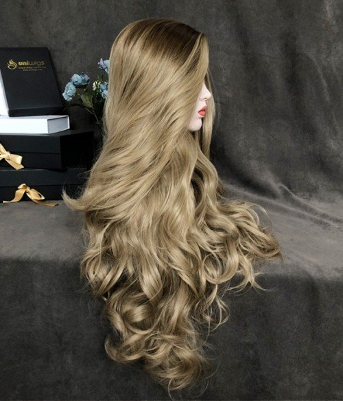 Aphrodite Blonde Balayage Waist Length Wavy Synthetic Lace Front Wig