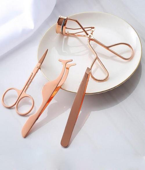Eyelashes Curlers Tweezers Set-Rose Gold Craft 4PCS