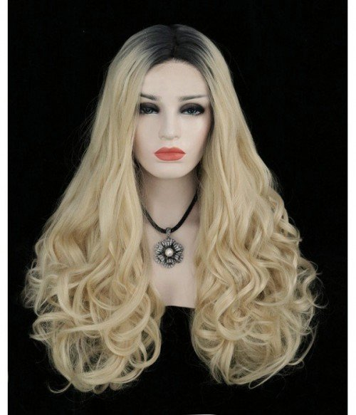 Angelia Blonde with Dark Roots Long Wavy Synthetic Lace Front Wig