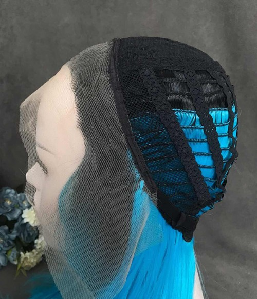 Morpho/Blue Hair with Dark Roots Synthetic Lace Front Wig