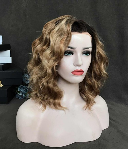 Camarel Delight/With Blonde Highlights And Dark Brown Roots Synthetic Lace Front Wig