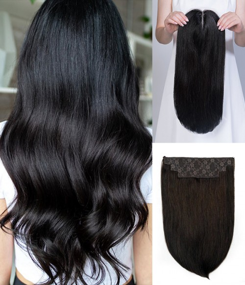 """16"""" 6""""×6""""-Upgrade Claire Remy Human Hair Topper+ 14""""Catherine 2-in-1 Halo Remy Human Hair Extension"""