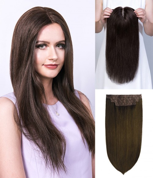 """16"""" 5""""x6"""" Emily Remy Human Hair Mono Topper+14"""" Catherine 2-in-1 Halo Remy Human Hair Extension"""