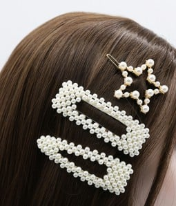 3 pcs Geometric Pearl Hair Clips