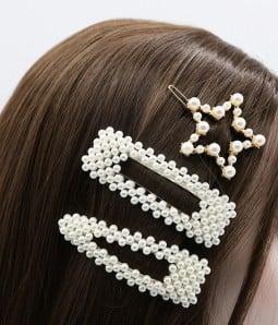 3 pcs Geometric Pearl Hair Clips