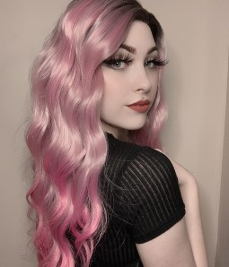 Neon Violets Light Fuchsia Pink Long Wavy Synthetic Lace Front Wig