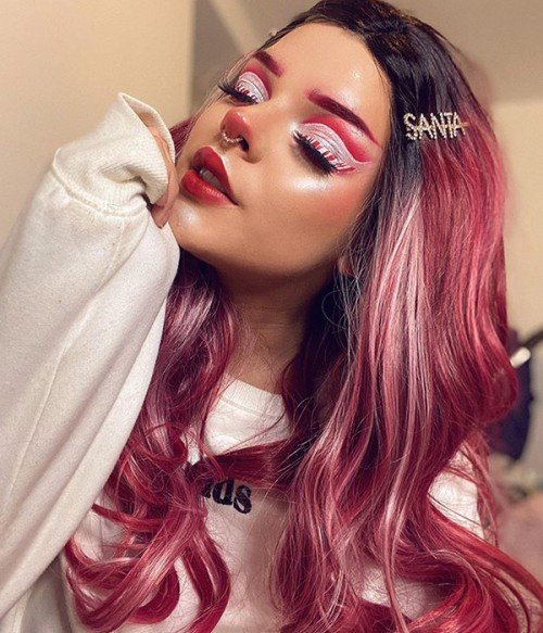 Cranberry Frost /Hot Pink and Red Blend with Black Rooted Synthetic Lace Front Wig