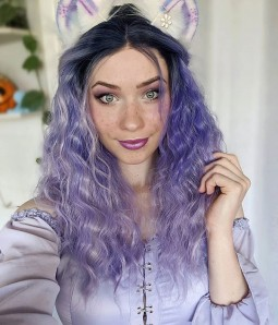 Lavender Dawn Lavender Purple Long Loose Wave Synthetic Lace Front Wig