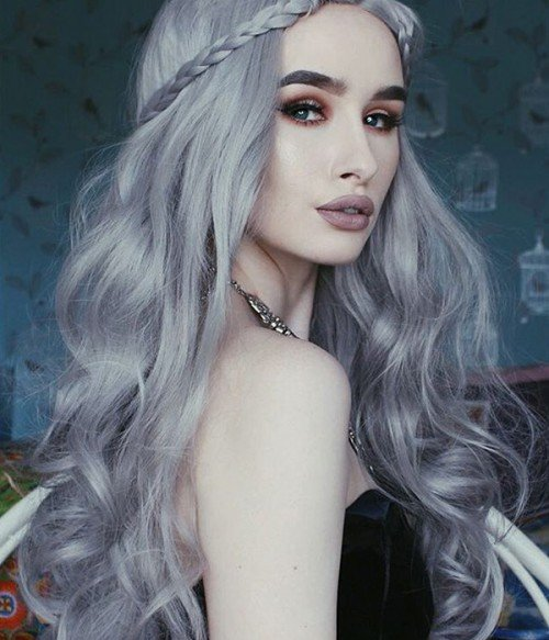 Star Cool Silver Long Wavy Synthetic Lace Front Wig